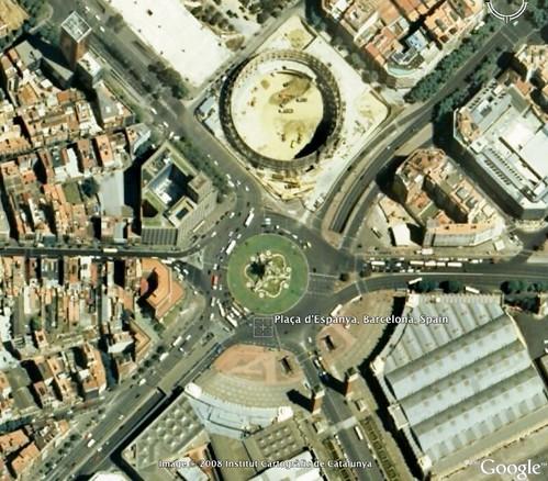 Plaça d'Espanya in Google Earth