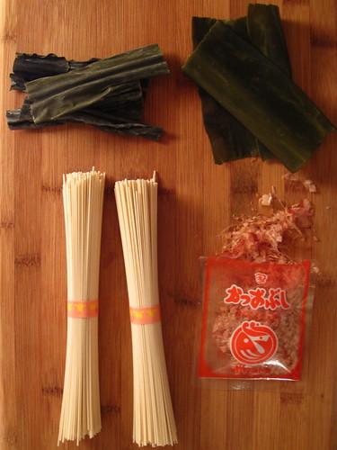noodle, kombu, bonito