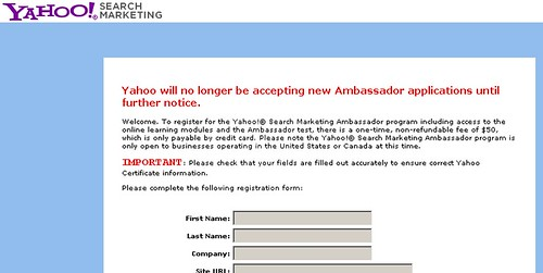 Yahoo Search Marketing Kills Ambassador Program?