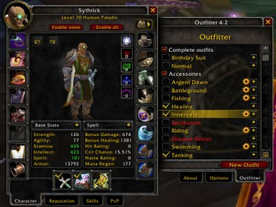 Screenshot of weapons added to an outfit in Outfitter.