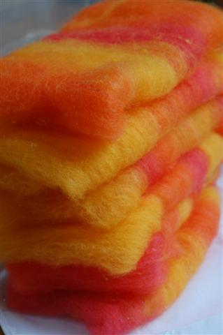 Wool Batts - Fire colours