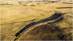 Long Shadows From High Above (Trains In Tasmania) Tags: australia tasmania train tasrail high aerial diesellocomotive papertrain goodstrain freighttrain 32 332 no32 yorkplains containertrain trclass tr hills caterpillar tr06 tr10 djiphantom3standard dji phantom3standard drone dronephotographyscenescenerytasmanian countrysidetasmanian shadows shadow trainsintasmania tasmaniancountryside tasmanianscenery stevebromley