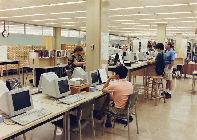 Library online computer terminals by OSU Archives