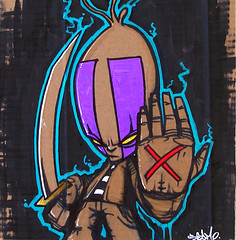 """SEAMO-SAMURAI"" - '07 (Prints SOLD OUT!) (SEAMO ONE) Tags: streetart art painting graffiti design character stickers cardboard samuri seamo sinik"