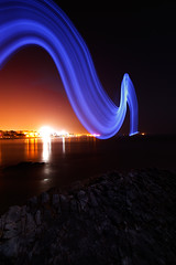 (Toby Keller / Burnblue) Tags: california longexposure lightpainting beach santabarbara night landscape d70 led lightsaber mesa 1118mm