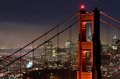 Golden Gate Bridge and San Francisco at night (canbalci) Tags: sanfrancisco california city bridge usa cali skyline architecture night dark lights golden evening nikon bravo gate san francisco cityscape landmark goldengatebridge baybridge bayarea transamericabuilding aplusphoto alemdagqualityonlyclub