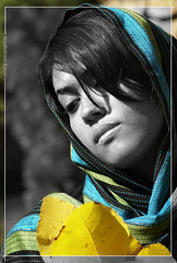 fall comes.. (Mitra Mirshahidi-) Tags: blue portrait black green fall girl yellow scarf leaf explore