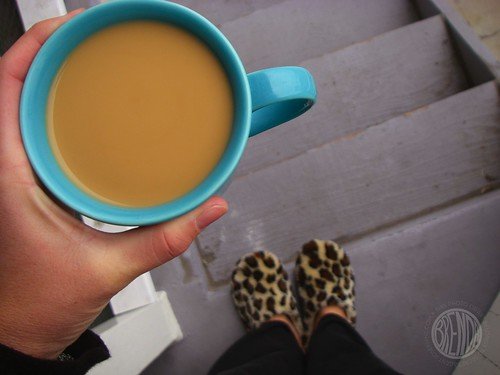 morning coffee and slippers
