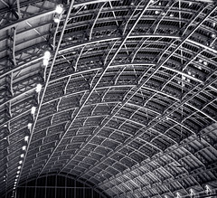 Still a St Pancras fan (Rich007) Tags: uk greatbritain blue roof england blackandwhite bw london monochrome station architecture night train europe cathedral eurostar unitedkingdom britain victorian railway terminal international gb bandw canopy railways stpancras barlow chunnel terminus channeltunnel betjeman 1868 saintpancras williamhenrybarlow johnbetjeman stpancrasinternational sirjohnbetjrman thecathedralofrailways