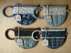 Blue TeaCup pouches 50-53 (PatchworkPottery) Tags: bag tea handmade sewing crafts country fabric purse pouch zipper quilted patchwork teacup wristlet