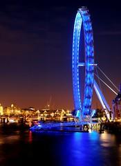 The All Seeing Eye (~Glen B~) Tags: blue reflection london eye thames skyline night neon bbok redbubble:id=4437981theallseeingeye
