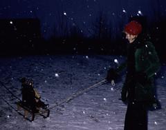 In de verse sneeuw (alwinoll) Tags: inge holy 1976 marian vlaardingen sleetje
