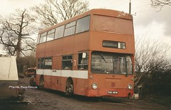 Gone to seed. (Lady Wulfrun) Tags: red bus london abandoned buses fruit farm transport engine scrap midland lt daimler 680 leyland fleetline stafford dms pickers dms831 tgx831m