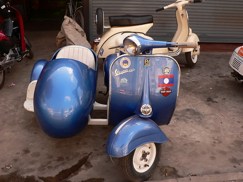 Vespa with sidecar, Vientiane