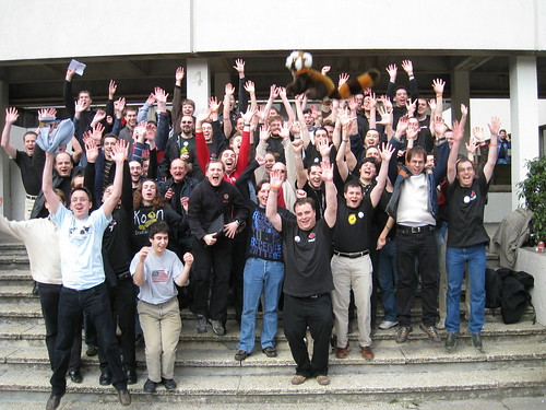 Mozilla community members jumping in joy at Fosdem, Brussels