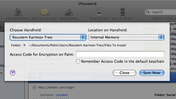 1Password Sync to Palm Window
