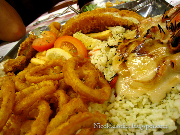 seafood platter for two - calamari and prawns