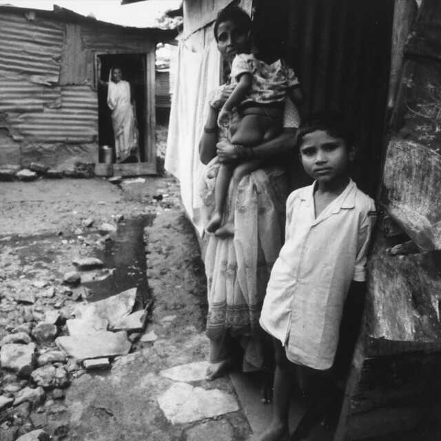 Slum family in India