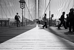 walk the line (richietown) Tags: city newyorkcity bridge urban blackandwhite bw newyork topv111 brooklyn canon stock wideangle brooklynbridge getty whiteline 30d sigma1020mm mywinners richietown