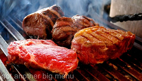 Santa Maria del Sur, Clapham - Steaks on grill