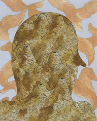 mound man (mister patrick costello) Tags: leaves painting head patterns mounds walnutink patrickcostello