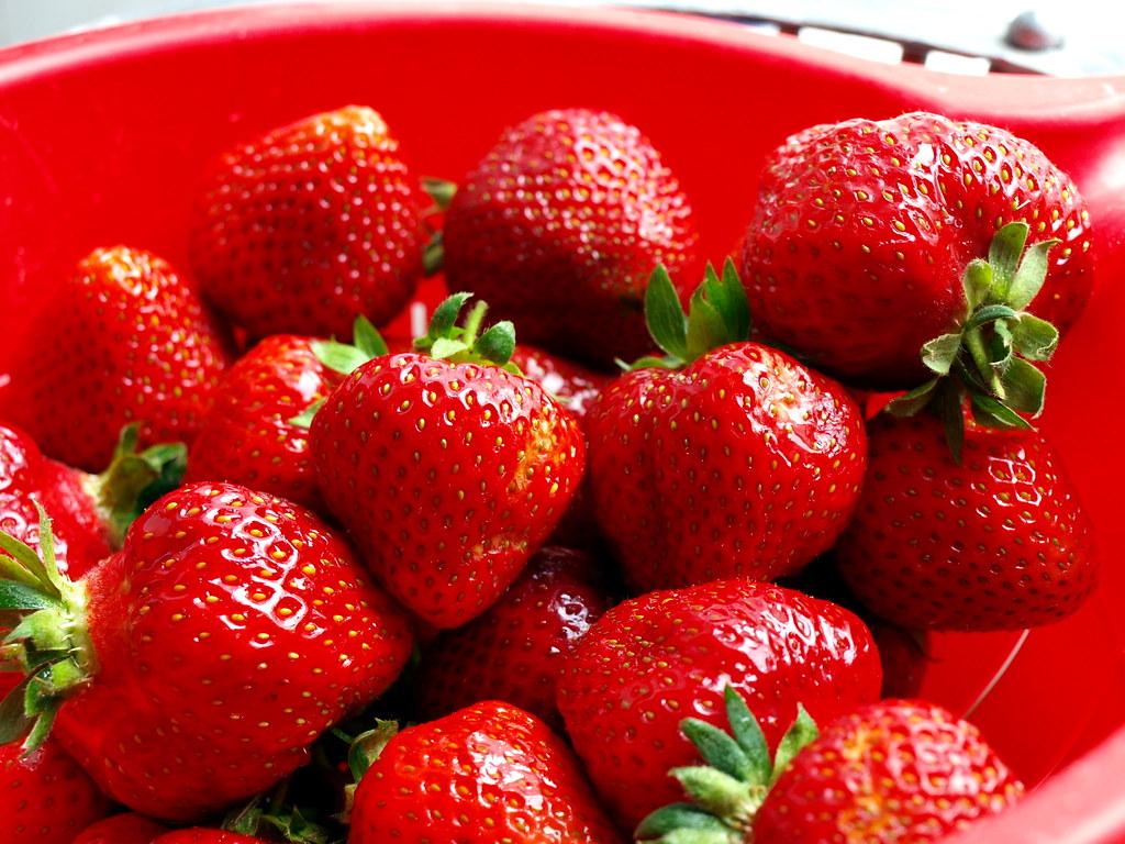 rot, röter, Erdbeeren