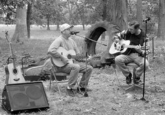 Denny and Paul in B and W (dcheath8) Tags: party music outdoors guitars