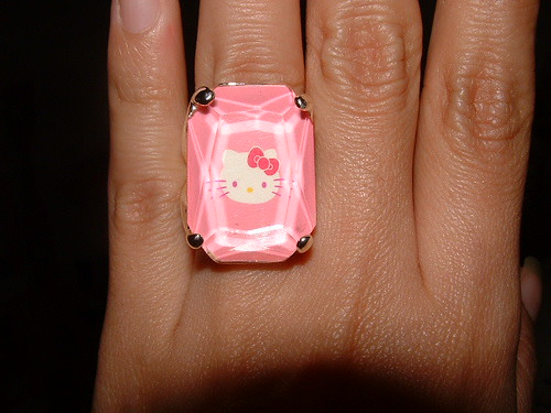 Anillo rosado Hello kitty