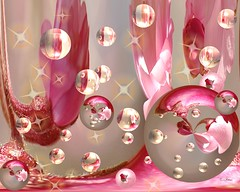 Amazing Stars & Bubbles (Momba (Trish)) Tags: pink flowers photoshop stars adobephotoshop bubbles amazingcircles adobe momba