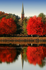 Turners Falls (dbullens) Tags: autumn red reflection church ma yahoo google massachusetts newengland steeple foliage gill bing westernmassachusetts turnersfalls mapletrees turnerfalls bigmomma ourladyofpeace lall challengeyouwinner gillma wowiekazowie flickrchallengewinner ysplix 15challengeswinner colourartaward thechallengefactory tripleniceshot turnerfallsma