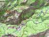 Carte de la région d'Evisa avec les ruisseaux de l'Aïtone et du Spurtellu (itinéraire du canyon/ravin de Spurtellu)
