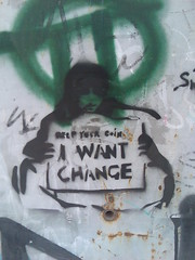 Keep your Coin - i want change (Michelle Foocault) Tags: streetart grafitti kreta rethymno