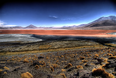 Colored lake (wili_hybrid) Tags: trip travel autumn red vacation lake holiday fall nature landscape geotagged outside outdoors photo yahoo high interesting nikon october flickr exterior dynamic photos outdoor picture bolivia pic explore journey wikipedia imaging d200 popular mapping range geotag tone hdr hdri 2007 uyuni photomatix flickrexplore nikond200 tonemapped tonemapping interestingness259 highdynamicrangeimaging year2007
