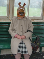 Betty waiting for bus . (Scarycrow) Tags: road street old grandma horse art film sport modern lady studio photography video women funny brighton tate head good mother competition best betty busstop mum winner around 100 80th raincoat handbag horsehead blinddate horsing ditchling youtube motheringlaw