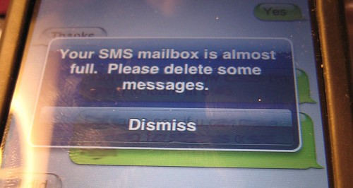 iPhone SMS Messages Almost Full!