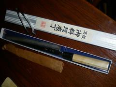 Sashimi knife bought at Tsukiji (tedesco57) Tags: fish japan tokyo market knife mercado exotic ingredients tsukiji markt sashimiknife sahsimiknife
