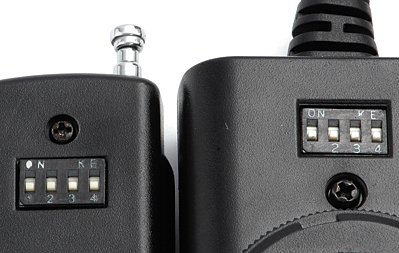 Channel selector switches on the Phottix Cleon remote control set
