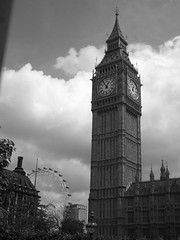 Black and white day (louisemarston) Tags: clock londoneye bigben