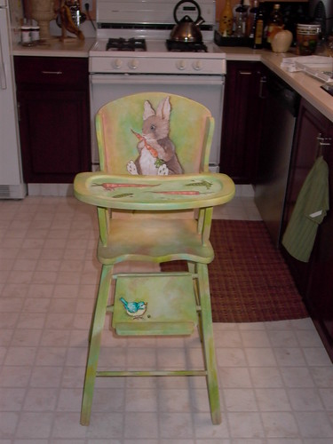 2245603842  cbe671bb0c Painted Wooden High Chair