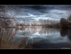 Reflections of a dark blue (Pipall) Tags: uk longexposure blue trees england lake water clouds canon reflections symmetry surrey crop infrared 1855mm guildford hoya r72 universityofsurrey blueribbonwinner golddragon abigfave rebelxti canoneos400d aplusphoto