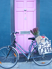 Flower Shopping  Done (praguelondon) Tags: door pink flowers london bike february fiver panier