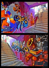 Valparaiso Colors at Daylight... 3rd one! This is Street Art! (B'Rob) Tags: chile city travel blue red orange streetart color building verde green art tourism true azul architecture stairs photography gold valparaiso mar photo yahoo google rojo arquitectura nikon mural funny flickr paradise quiet via symbol edificio picture tourist colores oxido best escalera explore most graffitti wikipedia eden valparaso paraiso destroyed 1224mm hdr paraso valpo porteo mejor tradicin viadelmar chilean oxide portea snopes vregion d40 brob explored edn p1f1 justforachange brobphoto