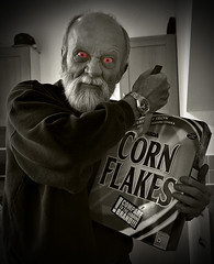 Day 263/365 Cereal killer (tootdood) Tags: red blackandwhite sepia asda eyes corn canon20d cereal eat killer them flakes toned anytime 365days threesixtyfive