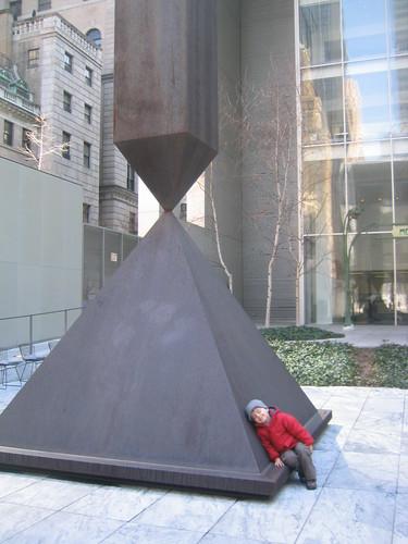 Jude with Barnett Newman's Broken Obelisk