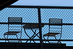 Tables and chairs (yewenyi) Tags: fence table chair chairs mesh empty sydney australia nsw newsouthwales pyrmont aus spb pc2009 auspctagged greatersydney meshfence spbphotowalk spbsaturdayphotowalk15 saturdayphotowalk15 spbphotowalk15