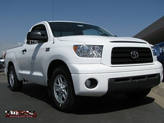 Front view of lowered Tundra truck.