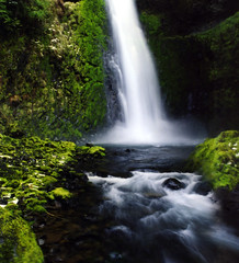 the six-mile waterfall (manyfires) Tags: snow green film nature oregon outdoors waterfall nikon fuji trail pacificnorthwest lush fm columbiarivergorge eaglecreek tunnelfalls nikonfm waterfalling pro160c twelvetotalactually sixmilesofinterestingweathertosaytheleast