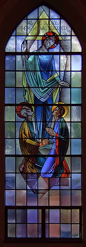 Saint Gabriel the Archangel Roman Catholic Church, in Saint Louis, Missouri, USA - stained glass window of the Ascension