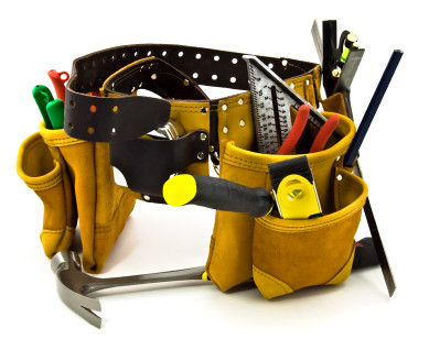 Carpenter Tool Belt and Tools - Isolated on White by BoomeraATV.