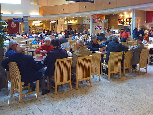 A card game in the food court at Westfield Wheaton Mall - Taken With An iPhone
